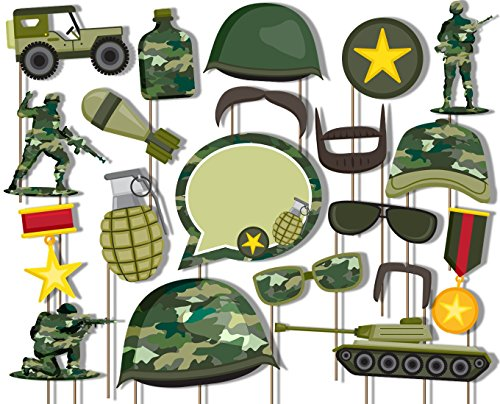Birthday Galore Classic Camo- Army Military Photo Booth Props Kit - 20 Pack Party Camera Props Fully Assembled