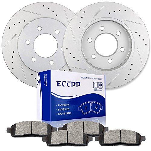 ECCPP 2pcs Front Discs Brake Rotors and 4pcs Ceramic Disc Brake Pads Fit for...