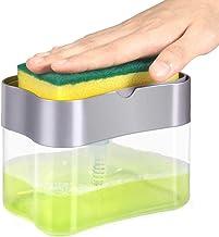 FreShine 2 in 1 Soap Pump Dispenser for Dishwasher Liquid, Soap, Sponge Holder with Sponge (soap Dispenser for Kitchen)