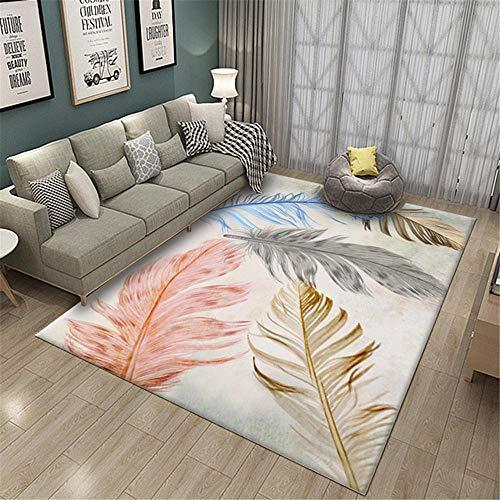 Bedroom Rugs Feather Pattern Mildew Proof Rugs Pink Brown Gray Large Living Room Rug60X90cm