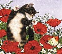 DIY クロスステッチキット、手作り刺繍キット 、図柄印刷 初心者 ホーム装飾 、壁の装飾 、クリスマス プレゼント, 蝶とポピーの花猫 40x50cm