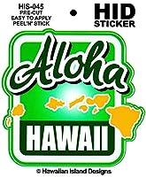 HID ハワイアン ステッカー デカール(ALOHA-アイランド) ハワイアン雑貨 ハワイ 雑貨 お土産 (グリーン)