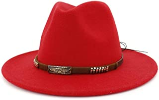 SAIPULIN-AU 2019 Men's and Women's Autumn and Winter Fedora Hat Couple Dating Outdoor Humboldt Travel Woolen Hat Wide Side Jazz Cap (Color : Red, Size : 56-58CM)