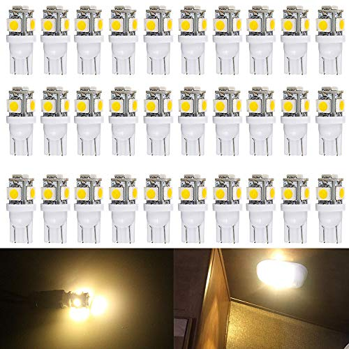 ALOPEE - 30-Pack Warm White 194 T10 W5W 168 2825 158 501 5-SMD 5050 Chipsets LED Replacement Bulbs for 12V Car RV Interior Dome Map Door Courtesy Trunk License Plate Clearance Lights Marine light