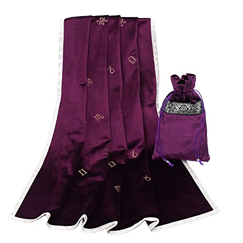 GRACEART Large 31'x31' Astrology Embroidered Tarot Table Cloth Table Cover with Tarot Pouch (Purple)