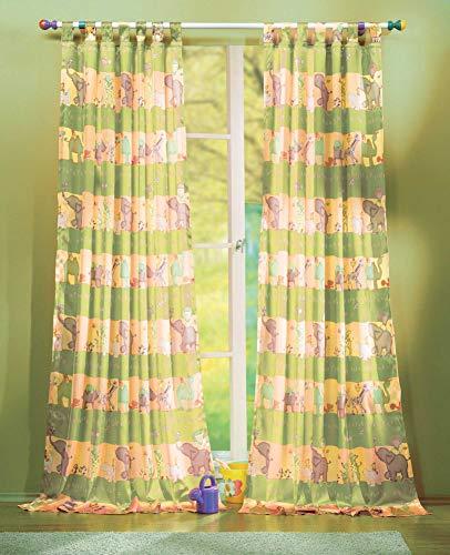 Gardinenbox Kindergardinen mit süßen Tieren, Set besteht aus 2 Schlaufenschals und 2 Raffhalter, 245x140, Grün, 60010