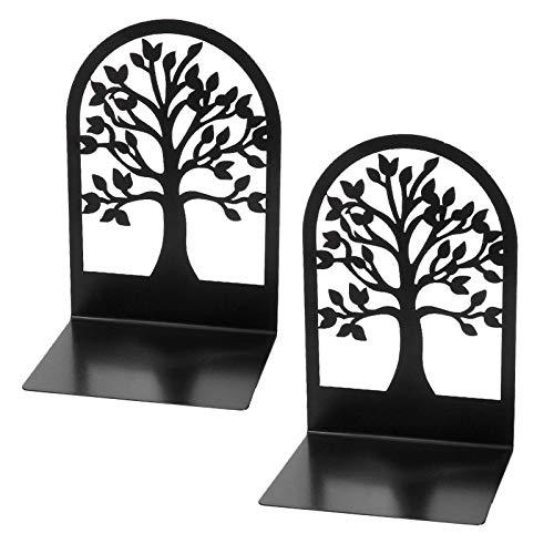 Sujetalibros resistentes, soporte para libros para estantes, sujetalibros de metal para oficina y escuela, tapón de libro en forma de árbol para regalo, divisores de libros (2 unidades)