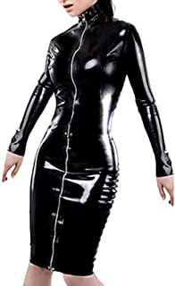 Women's Faux Leather Long Sleeve Zipper Lace Up Midi Bodycon Wet Look Sexy Vinyl Party Night Club Dresses