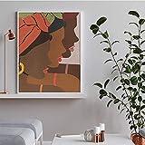 JIAJIFBH Impresiones en Lienzo 50x70cm sin Marco Mujer Africana Arte de Pared Africano Mujer Africana Chica Africana Pintura Cuadro decoración del hogar