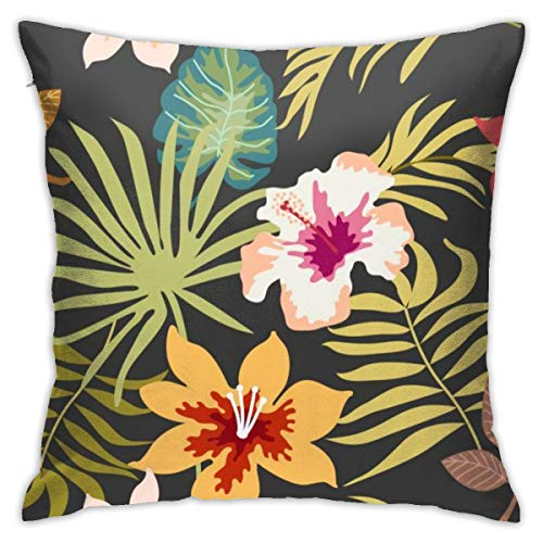 iksrgfvb Pillowcases Cushion Covers decoration Bark Tropical Dark Floral Background With Palm Leaves And Flowers. Seamless on the Sofa car bed 45X45 CM