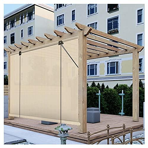 XJJUN Außenrollo, Atmungsaktive Jalousien Sichtschutz Wetterbeständig UV-beständig, Für Gartenpergola (Color : Beige, Size : 1x2.5m)