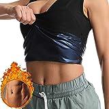 Sfigur Camiseta deportiva de tirantes para mujer, de neopreno, con efecto de sudoración Negro S