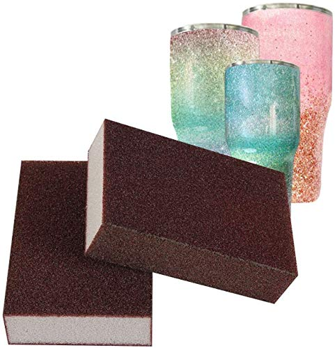 Yaromo Sanding Sponge for Epoxy Glitter Tumblers, 2 Pack Epoxy Grinding Blocks Apply to Remove Smudges and Bumps, Superfine Epoxy Refinishing Papers for Making Glitter Tumbler Cups