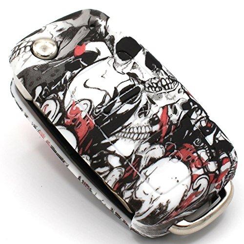 Schlüssel Hülle VA für 3 Tasten Auto Schlüssel Silikon Cover von Finest-Folia (Totenkopf Bunt)