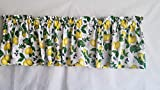 Lemon, Blueberry and Floral Valance Curtain, Lemon Kitchen Curtain, Citrus Valance Curtain, Fruit Curtain (41-42 Inches Wide x 15 Inches Long)