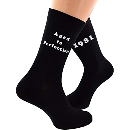 Aged to Perfection 1981 Printed on Mens Black Socks for 40th Birthday Present for 2021