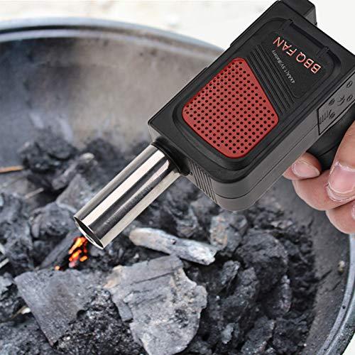 BBQ Ventilator, Holzkohlegrill Hilfe Schnelleres Grillen Picknick Ventilator Luftgebläse Edelstahl für Outdoor Camping Picknick Grill Kochen Werkzeug (schwarz)