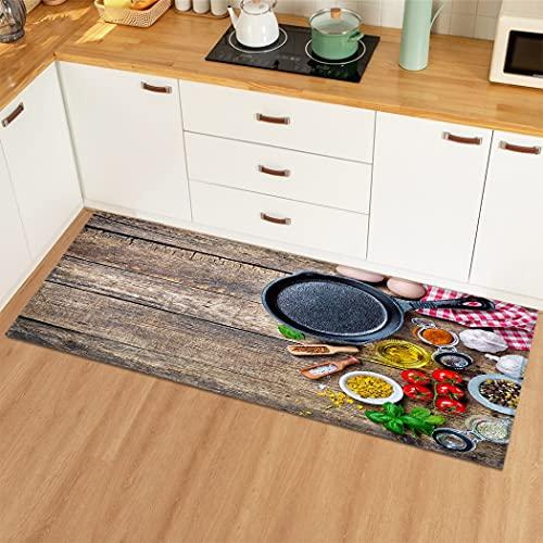 OPLJ Alfombrilla Simple de Grano de Madera para el hogar, Alfombra para el Piso de la Cocina, Alfombra Antideslizante para Sala de Estar, Dormitorio, Alfombra A3 40x120cm