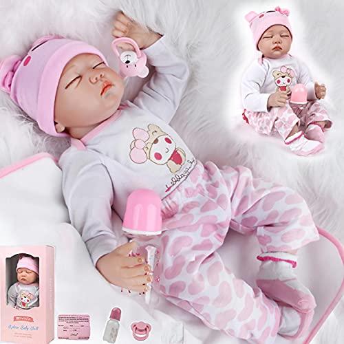 ZIYIUI Bambola Reborn Femmina 22 Pollici 55 cm Realistico Vinile Tutto Il Corpo in Silicone Morbido Bambole Reborn Toddler Babies Regalo di Compleanno Giocattoli