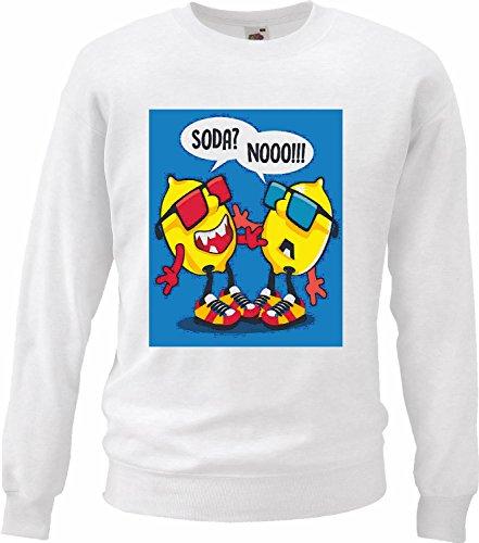 Sweatshirts Twee grappige citroen met zonnebril, Streetwear Hiphop, casual saus, wit