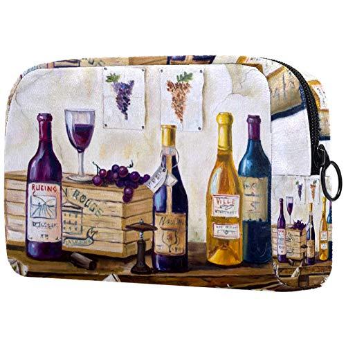 Bolsa de cosméticos para Mujeres Bodegón de Botellas de Vino y toronja. Bolsas de Maquillaje espaciosas Neceser de Viaje Organizador de Accesorios