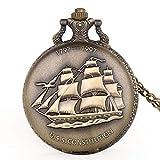 IOMLOP Orologio da tascaVendita Calda Bronzo Antico Barca a Vela Tela Nave Orologio da Tasca Catena Orologio da Polso al Quarzo Regalo per Uomo Donna