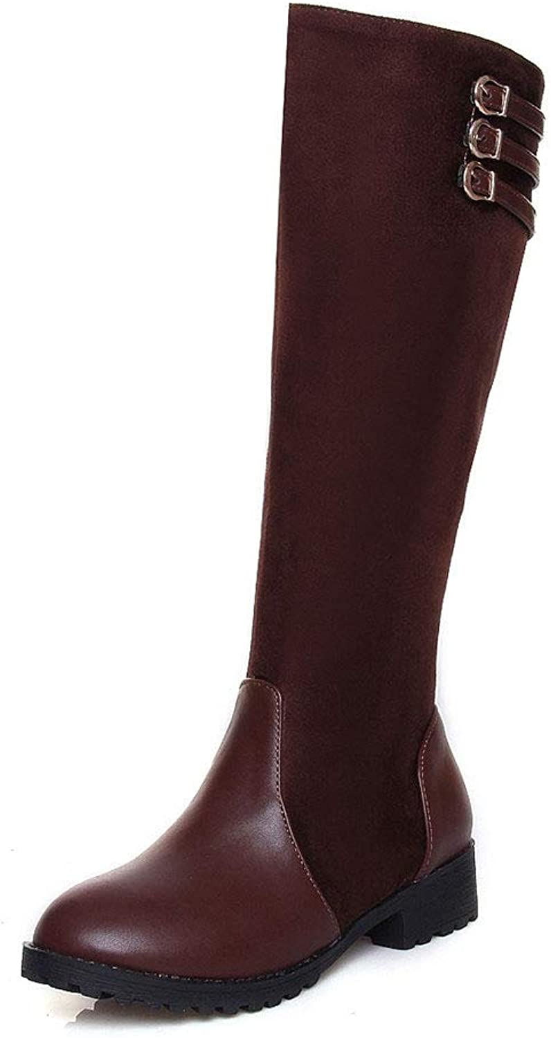 SENERY Women Knee High Boots Fashion Chunky Heels Winter Round Toe High Combat Boots Thigh High Riding Booties