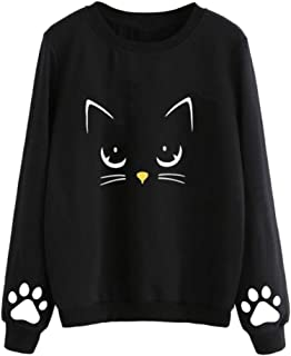 Women's Cat Print Sweatshirt Long Sleeve Loose Pullover Shirt Blouse