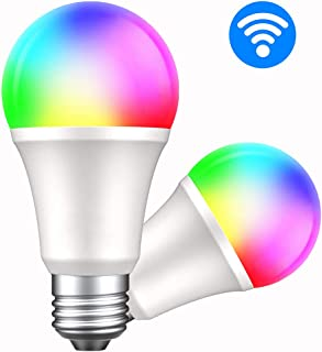 Smart Led Light Bulb E26 WiFi Dimmable Multicolor Light Bulb Work with Alexa, Google Home and IFTTT, RGBW Color Changing Bulb & Tubable White(2 Pack)