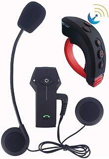 QUARKJK Interfone de ouvido Bluetooth sem fio para capacete de motocicleta e controle remoto BT interfone rádio FM função ...