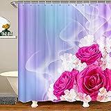 Loussiesd Cortina de ducha con diseño de rosas 3D para niños, adolescentes, flores románticas, cortinas de baño, cortinas impermeables y moradas y rojas, bañeras de 72 x 84 pulgadas