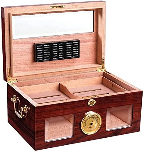 Cigar Humidor Cigar Box Humidor de escritorio con higrómetro y humidificador,Divisor Cedro Caja Decorativa,YKHAO