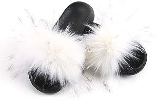 SAMENTHA Kabarık Sahte Kürk İç Mekan Terlikleri Kadın Sandalet Kaymaz Ayakkabı