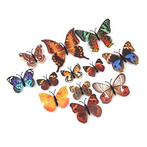 #N/A Ristiege 12 pegatinas de pared de mariposa de simulación 3D estéreo paisajismo decoración pegatinas de pared, color marrón