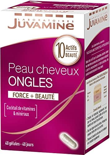JUVAMINE - Peau Cheveux Ongles - Force et Beauté - A base de Zinc et Vitamines A, C et E - 40 Gélules