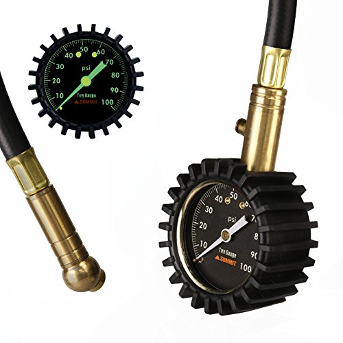 Summit Tools Tire Pressure Gauge with Glow Dial, 0 to 100 PSI, Hold Valve, 10 in. Flexible Hose, Pressure Bleeding Button, Rubber Head Cover. Automobile Accessory