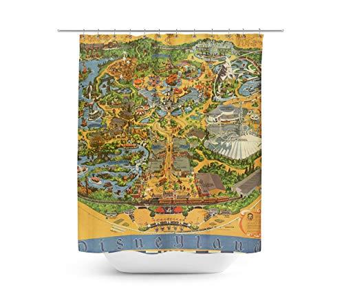 Queen of Cases Disneyland Vintage Map douchegordijn