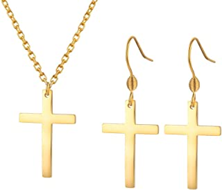 Cross Jewelry Sets Dangle Earrings and Pendant Necklace for Women Girls Stainless Steel Hypoallergenic Silver Gold