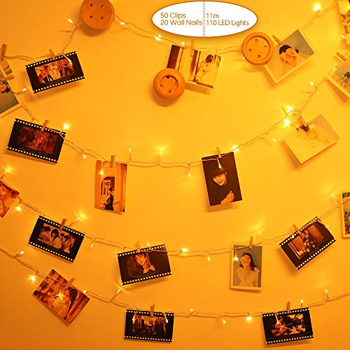 Anpro Photo clip light, 11 m 110 LED interior lighting, suitable for indoor, wedding, room. With 50 wooden clips, 20 wall studs