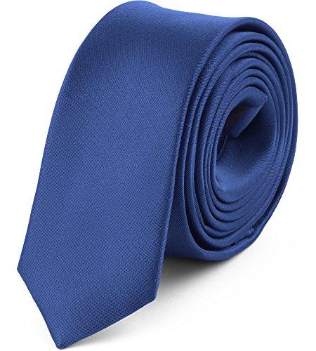 Ladeheid Corbatas Estrechas Diversidad de Colores Accesorios Ropa Hombre SP-5 (150cm x 5cm, Azul Marino)