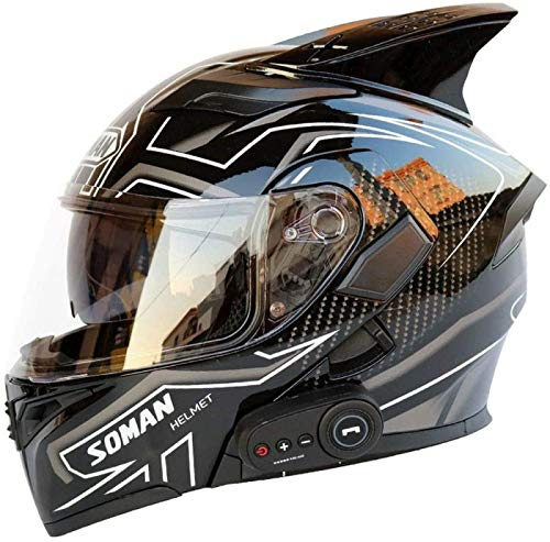 EBAYIN Modulare, Hochklappbare Doppelvisier-Integralhelme Motorrad-Bluetooth-Helme DOT ECE-zugelassener Helm, Männer Frauen Klappbarer Fronthelm Eingebautes FM,J-XL=(61~62cm)