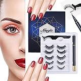 Magnetic Eyeliner and Eyelashes Kit Self Adhesive Eyeliner Pen - 3D Natural Look Eyelash Without Magnet - Reusable Eye Lash with Waterproof Liner, Black, Applicator(5 Sets Lashes + 1 Pen Liners)