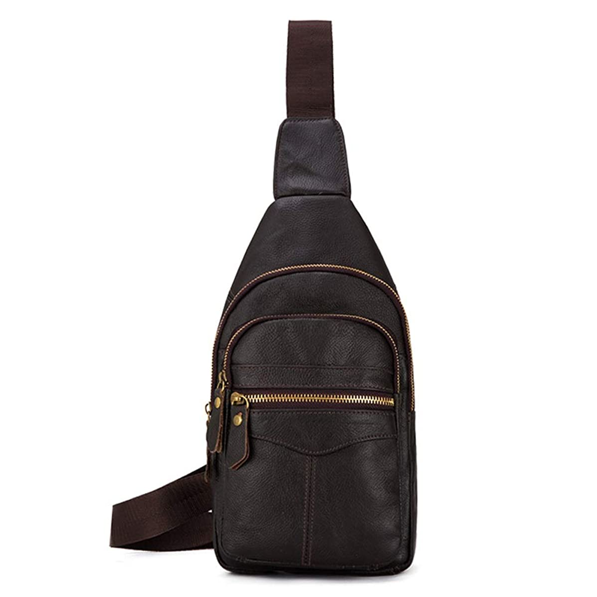 NY-close Men's Chest Bag, Shoulder Bag Leather Men's Chest Bag Messenger Bag Hanging Bag, Waterproof Leisure Messenger Bag Outdoor Shoulder Strap Chest Bag, Suitable for Outdoor Running Hiking