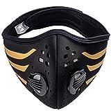nti Staub/Smog/Wind Maske Unisex Radfahren Staubdichtes Sport-Atemschutzgerät Gesichtsmaske Laufen Staubfilter Masken MFAZ Morefaz Ltd (Stripes Black Gold)