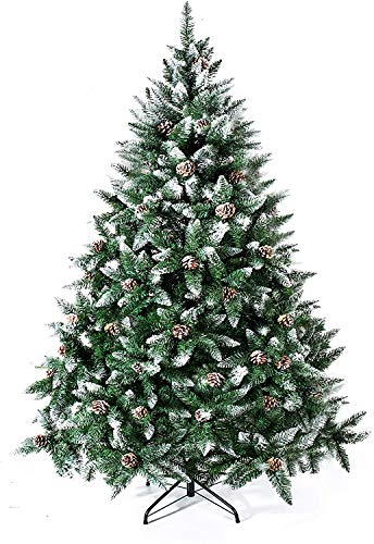 GIGALUMI Artificial Christmas Tree Flocked Snow Trees with Pine Cone,Solid Metal Legs Perfect for Indoor and Outdoor Holiday Decoration Unlit (6ft)
