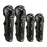 Protezioni per gomiti, parastinchi per motocross, corsa, ginocchiere, skateboard, 4 pezzi, protezione anti-vento