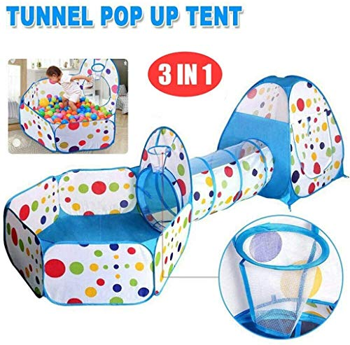 3 in 1 Portable Game House, Pop Up Tent Peuters Met Crawl Tunnel Kuil Van De Bal, Folding Kids Playhose Binnen/Buiten, Cubby Peuters & Adventure Station Baby, Blue