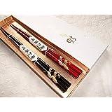 輪島漆塗箸 はんこ蒔絵箸 金と銀の双鶴 2膳夫婦セット 上質紙箱入り