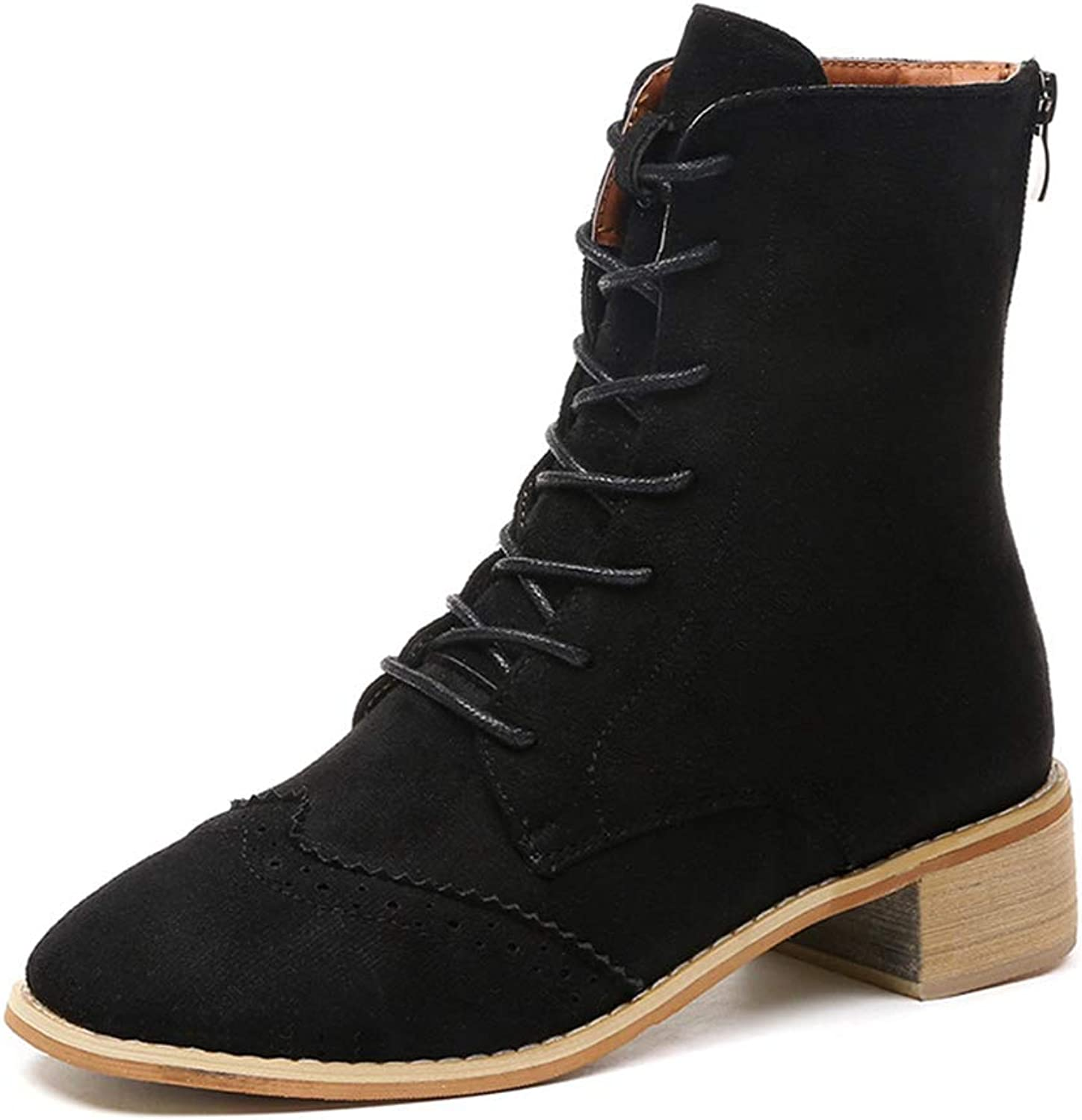 York Zhu Womens Boots - Round Toe Lace up Suede Martin Black Boots Women
