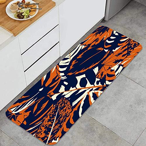PUIO Juegos de alfombras de Cocina Multiusos,Resumen composición Vintage Hojas Coloridas sin Costura,Alfombrillas cómodas para Uso en el Piso de Cocina súper absorbentes y Antideslizantes